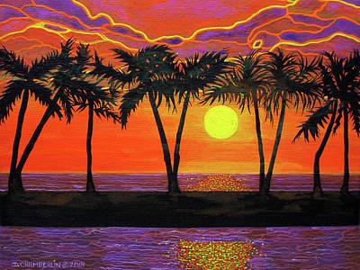 Maui Sunset Palm Trees Poster
