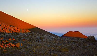 Mauna Kea Sunset With Full Moon Volcanoes National Park Hawaii Poster