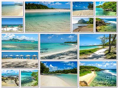 Mauritius Tropical Beaches Collage Poster
