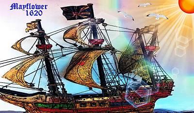Mayflower 1620 Poster by Romuald  Henry Wasielewski