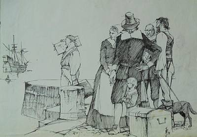Poster featuring the drawing Mayflower Departure. by Mike Jeffries