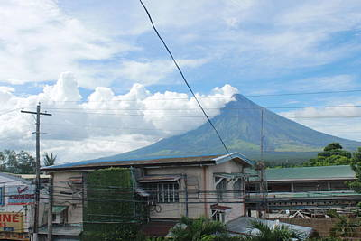 Mayon In-front Of My House Poster by Manuel Cadag