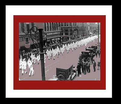 Mayor Benjamin Stapelton Leads Kkk March Downtown Denver Colorado 1923 Number Two  Color And Frames  Poster by David Lee Guss