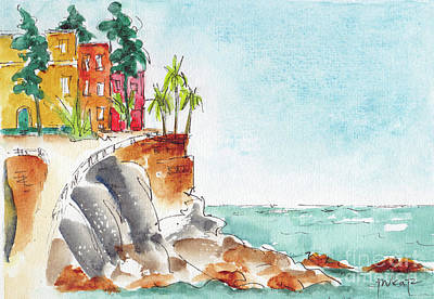 Poster featuring the painting Mazatlan Cliff by Pat Katz