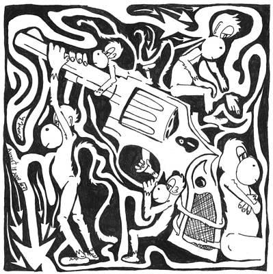 Maze Of A Team Of Monkeys Firing A Service Revolver Poster by Yonatan Frimer Maze Artist