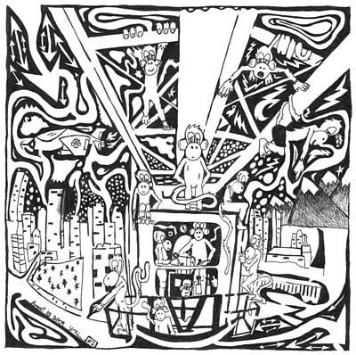 Maze Of Team Of Monkeys - Operating A Tower Crane Poster by Yonatan Frimer Maze Artist
