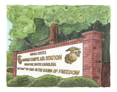 Poster featuring the painting Mcas Beaufort Welcome by Betsy Hackett
