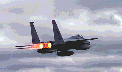 Mcdonnell Douglas F-15 Strike Eagle In Action With Afterburners Poster by L Brown