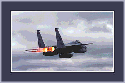 Mcdonnell Douglas F-15 Strike Eagle In Action With Afterburners Triple Border Poster by L Brown