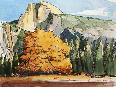 Poster featuring the painting Meadow At Half Dome by Terry Banderas