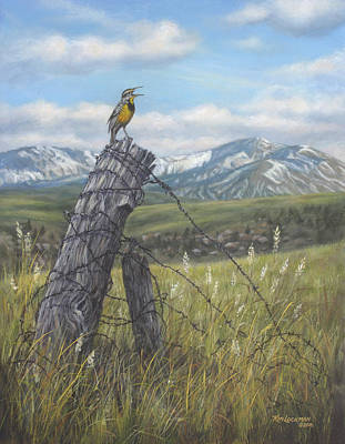 Poster featuring the painting Meadowlark Serenade by Kim Lockman