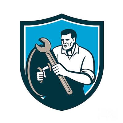 Mechanic Brandishing Spanner Wrench Shield Retro Poster by Aloysius Patrimonio