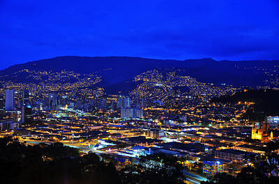 Medellin Colombia At Night Poster