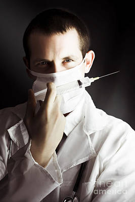 Medical Surgeon With Prescribed Medicine Injection Poster