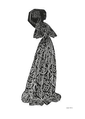 Medieval Lady Brass Rubbing  Poster