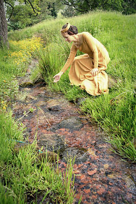 Medieval Lady By A Stream Poster