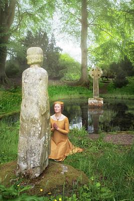 Medieval Lady Praying To Saint Ninian Poster