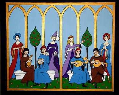 Poster featuring the painting Medieval Musicians by Stephanie Moore