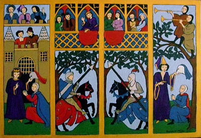 Poster featuring the painting Medieval Scene by Stephanie Moore