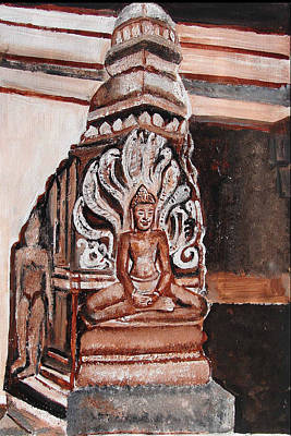 Poster featuring the painting Meditating Buddha 10 by Anand Swaroop Manchiraju