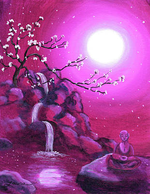 Meditating While Cherry Blossoms Fall Poster by Laura Iverson