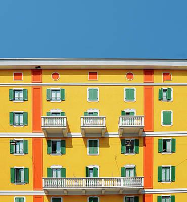Mediterranean Colours On Building Facade Poster