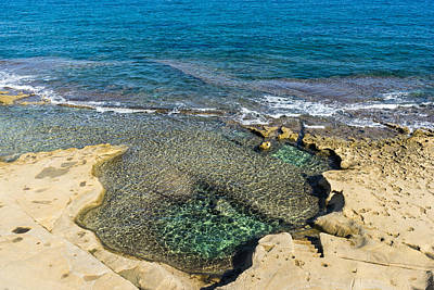 Mediterranean Delight - Maltese Natural Beach Pool With A Sleeping Giant Poster