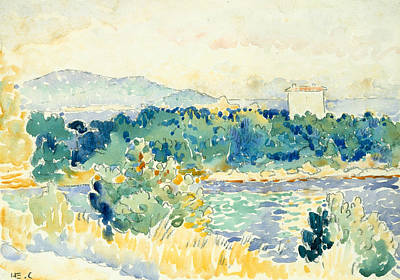 Mediterranean Landscape With A White House Poster by Henri-Edmond Cross