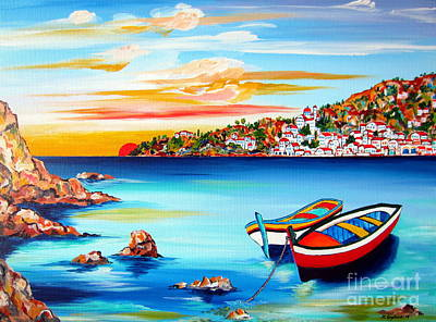 Mediterranean Sunset With Boats Poster by Roberto Gagliardi