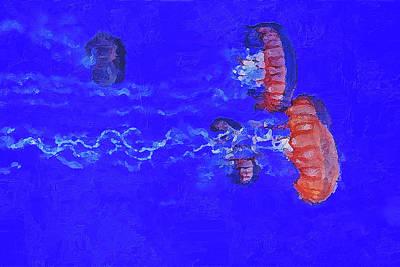 Poster featuring the digital art Medusas Jellyfishes by PixBreak Art