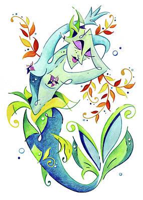 Meerjungfrau Art Design - Fantasy Illustration Poster