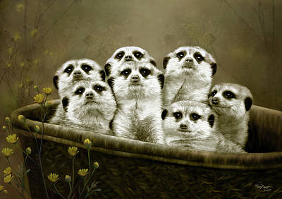 Poster featuring the digital art Meerkats by Thanh Thuy Nguyen