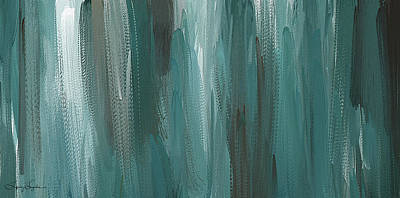 Meet Halfway - Teal And Gray Abstract Art Poster
