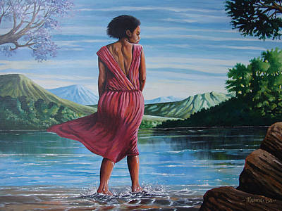 Poster featuring the painting Meet Me At The River by Anthony Mwangi