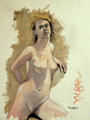 Poster featuring the painting Megan by Ray Agius