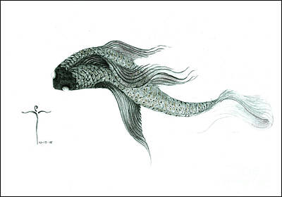 Poster featuring the drawing Megic Fish 1 by James Lanigan Thompson MFA