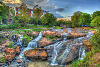 Mejastic Reedy River Falls Downtown Greenville South Carolina Art Poster