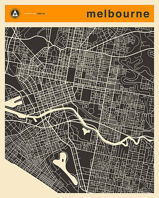Melbourne Map Poster by Jazzberry Blue