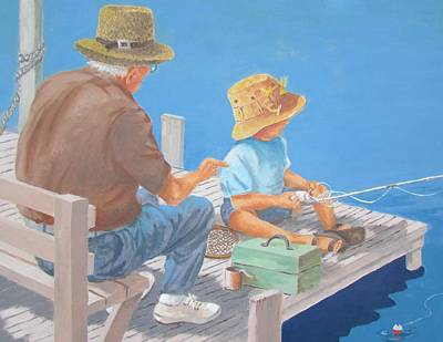 Poster featuring the painting Memorable Day Fishing by Tony Caviston