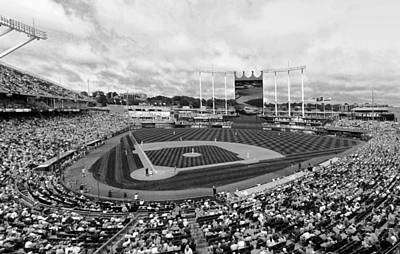 Memorial Day At Kauffman Stadium Bw Poster