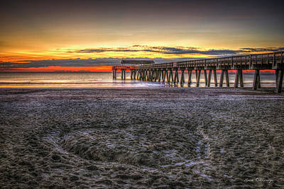 Memory In The Sand Tybee Island Pier Sunrise Art Poster