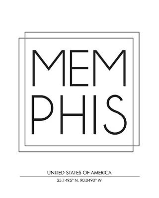 Memphis, United States Of America - City Name Typography - Minimalist City Posters Poster