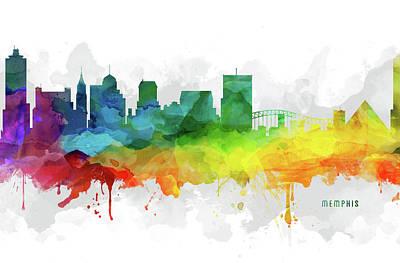 Memphis Skyline Mmr-ustnme05 Poster by Aged Pixel