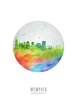 Memphis Skyline Ustnme20 Poster by Aged Pixel