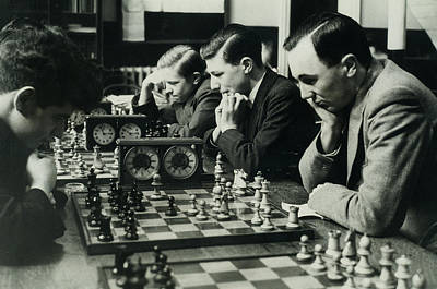 Men Concentrate On Chess Matches, 1940s Poster