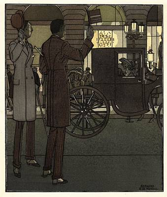 Men Gesturing To Carriage At Night Poster
