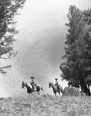 Men Riding Horses, C.1950-60s Poster