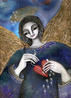 Poster featuring the mixed media Mender Of Hearts Angel by Prerna Poojara