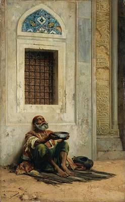 Mendicant At The Mosque Door Poster by Eastern Accent