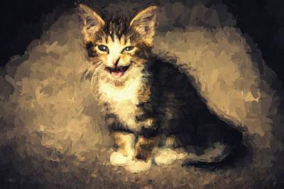 Meow Kitten Painterly Poster